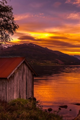 iPhone Wallpaper Norway, house, trees, lake, sunset, red sky