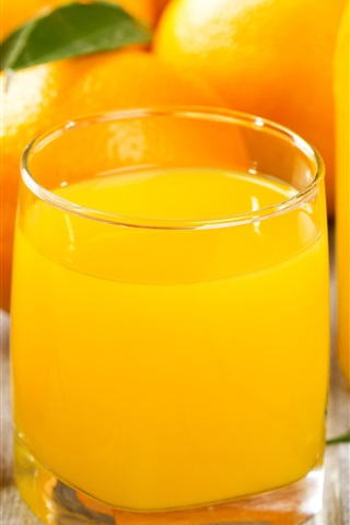 iPhone Wallpaper Orange juice, citrus, fruits, cups