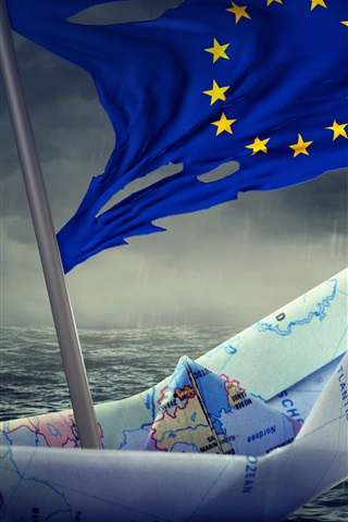 iPhone Wallpaper Paper boat, Flag of Europe, creative pictures