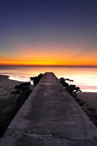 iPhone Wallpaper Pier, coast, beach, sunset, sea