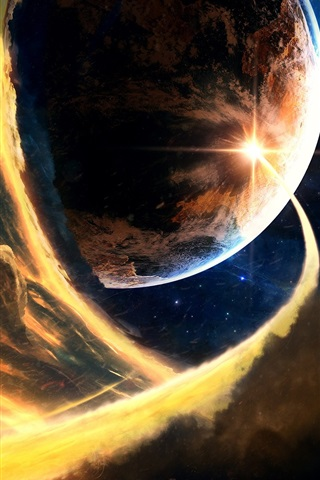 iPhone Wallpaper Planets, space, flame