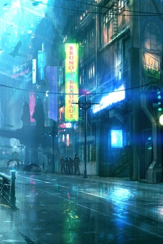 iPhone Wallpaper Rainy night city, street, buildings, art design