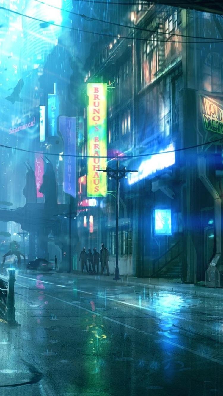 Rainy Night City Street Buildings Art Design 750x1334