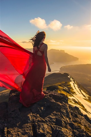 Red Dress Girl At Coast Ocean Sunset Back View 640x1136 Iphone 5