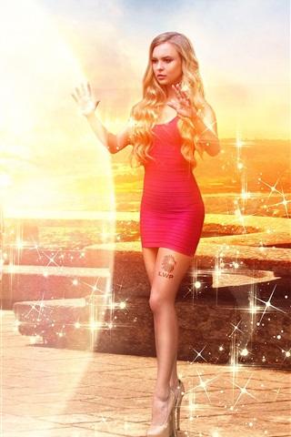iPhone Wallpaper Red dress magic girl
