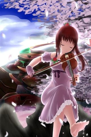 iPhone Wallpaper Red hair anime girl play violin, sakura petals, trees