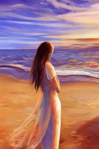 iPhone Wallpaper Romance time, walk at beach, sunset, painting