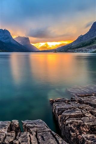 iPhone Wallpaper Saint Mary Lake, Glacier National Park, Montana, USA, sunset, mountains