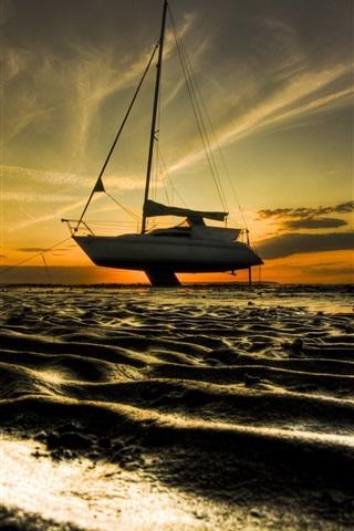Fonds D Ecran Sands Plage Bateau Crepuscule Coucher De Soleil 750x1334 Iphone 8 7 6 6s Image