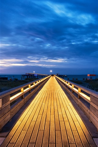 iPhone Wallpaper Schleswig-Holstein, Baltic Sea, Germany, wooden path, clouds, blue sky, night