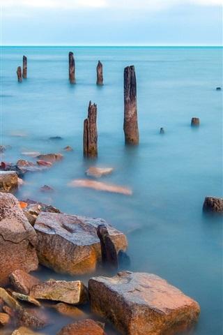 iPhone Wallpaper Sea, stump, dock, stones