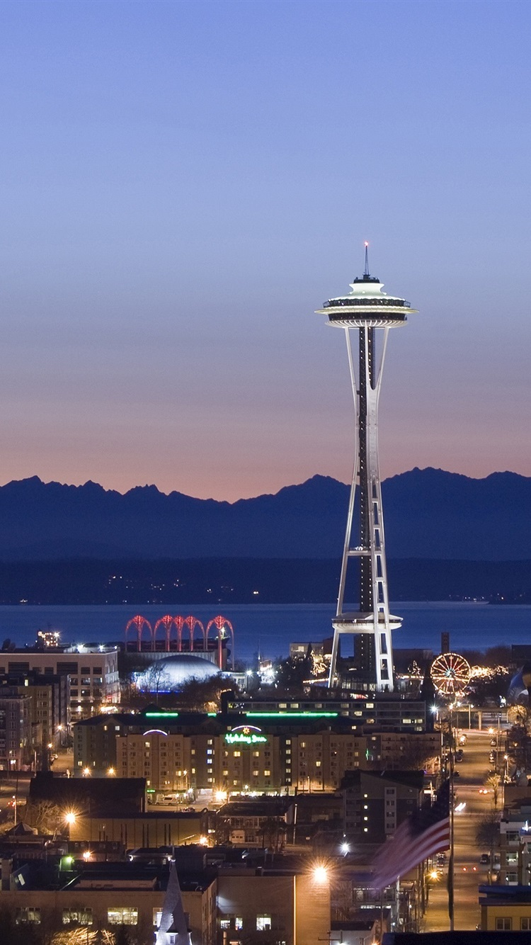 Seattle Night Houses Lights Tower Space Needle 750x1334 Iphone 8 7 6 6s Wallpaper Background Picture Image