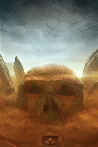 iPhone Wallpaper Skull, stones, desert, Desktopography art design