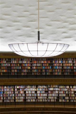 iPhone Wallpaper Stadsbiblioteket, Stockholm, library, many books, chandelier