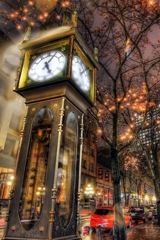 iPhone Wallpaper Steam Clock, city night, lights, Canada