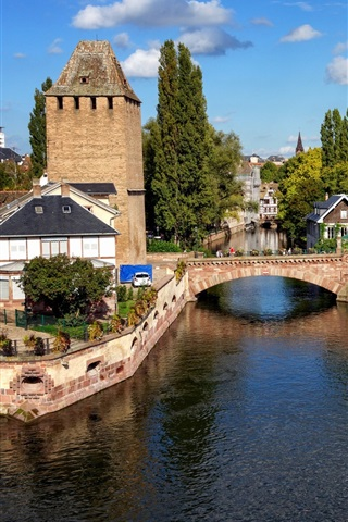 iPhone Wallpaper Strasbourg, France, bridge, houses, river