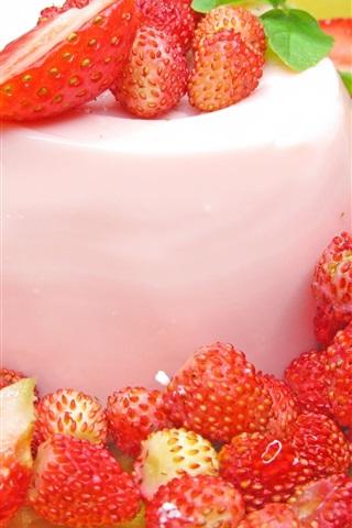 iPhone Wallpaper Strawberries, dessert, cake, cream