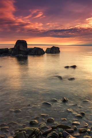 iPhone Wallpaper Sunset coast, sea, stones, red sky