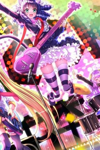 iPhone Wallpaper Sword Souls, rock anime girls, music