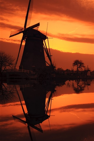 iPhone Wallpaper The Netherlands, windmills, river, red sky, evening