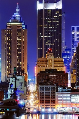 Times Square New York Night Skyscrapers Lights Usa