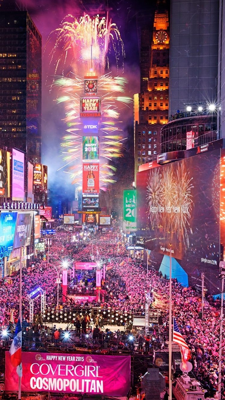 Times Square In New York City Usa Night Happy New Year People 750x1334 Iphone 8 7 6 6s Wallpaper Background Picture Image