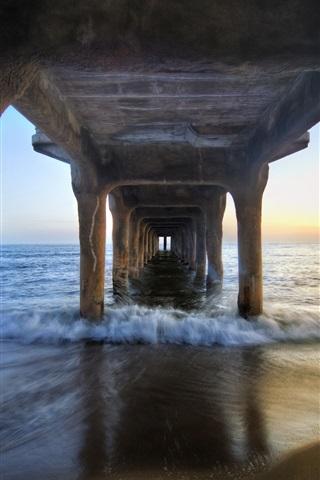 iPhone Wallpaper Under the pier bridge, beach, sea, coast