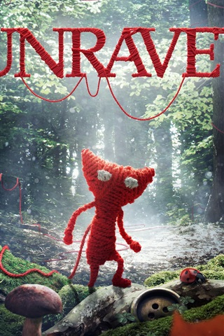 iPhone Wallpaper Unravel, video game, wool