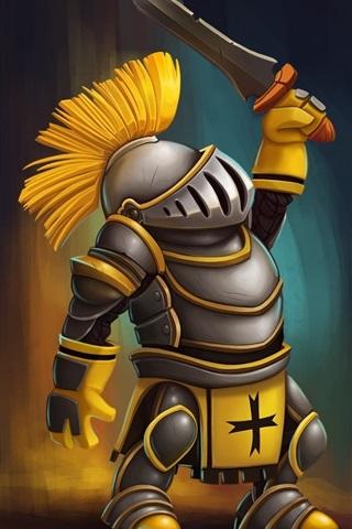 iPhone Wallpaper Warrior, armor, sword, art design