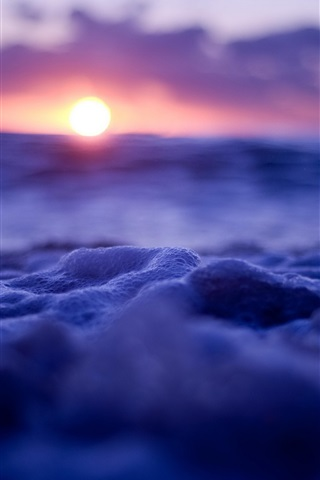 iPhone Wallpaper Waves and bubbles, sunset, blue style