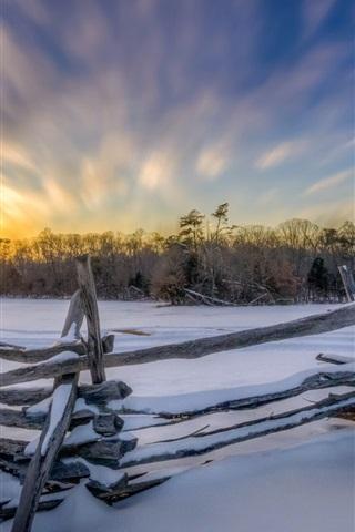 iPhone Wallpaper Winter morning, snow, fence, trees, sunrise