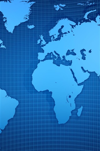 iPhone Wallpaper World map, grid, blue style