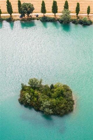iPhone Wallpaper Yonne River, France, blue water, island, trees, fields