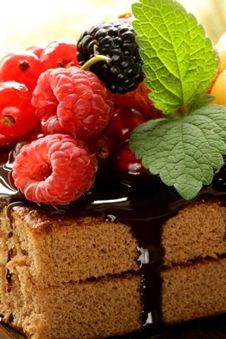 iPhone Wallpaper A piece cake, chocolate, berries, raspberry, mint, dessert