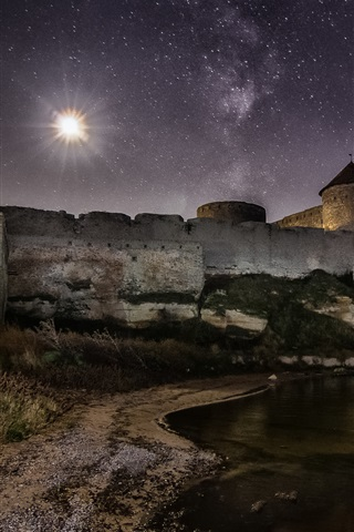iPhone Wallpaper Ackerman, Ukraine, stars, castle, river, night