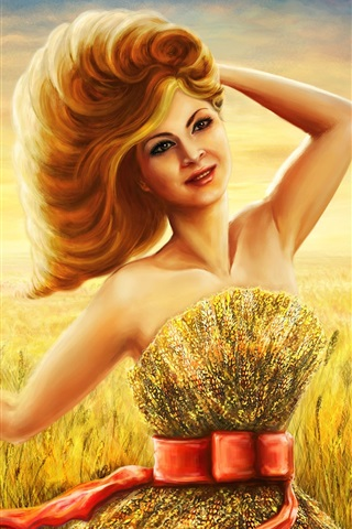 iPhone Wallpaper Art drawing, smile girl in summer, wheat field