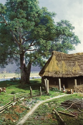 iPhone Wallpaper Art painting, farm, farmer, houses, countryside, cow, river, trees