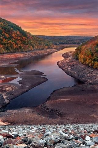 iPhone Wallpaper Autumn, sunset, trees, river, rocks
