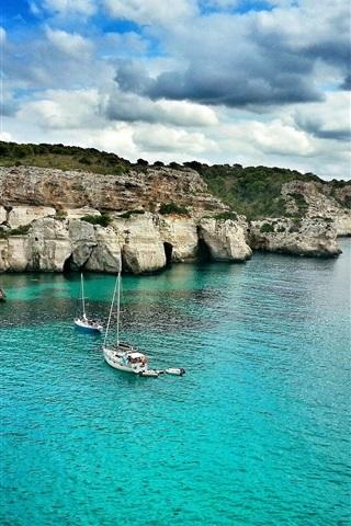 iPhone Wallpaper Baleares, Majorque, sea, boats, clouds