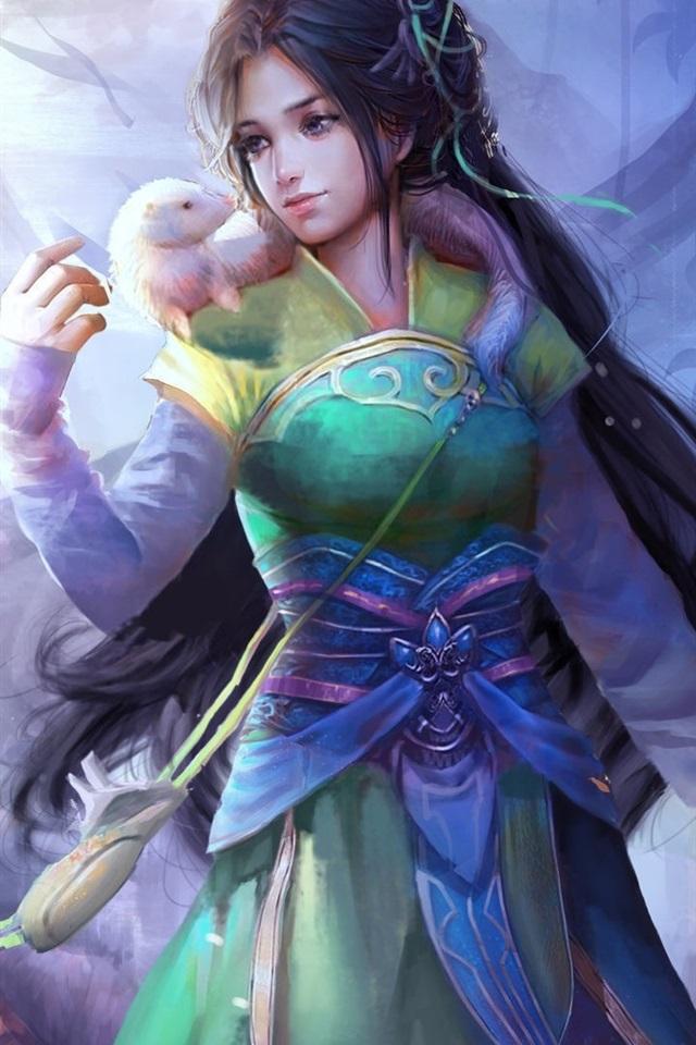 Wallpaper Beautiful Chinese Fantasy Girl Retro Style