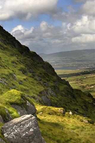 iPhone Wallpaper Beautiful Ireland nature landscape, mountains, grass, clouds