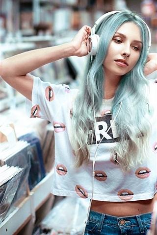 iPhone Wallpaper Blue hair girl, headphones, music