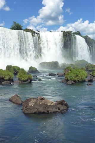 iPhone Wallpaper Brazilian Iguazu Falls, stones, grass, blue sky, clouds