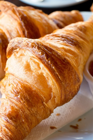 iPhone Wallpaper Breakfast, croissants, bread, jam