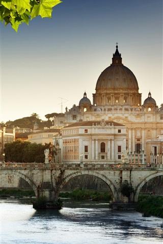 iPhone Wallpaper Cathedral, river, bridge, Vatican, Rome, Italy