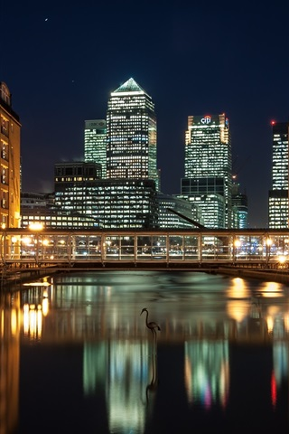 iPhone Wallpaper City night, skyscrapers, London, England, Docklands, river, houses