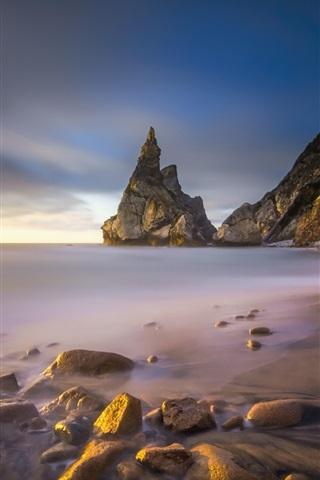 iPhone Wallpaper Coast, dawn, cliff, stones, sea
