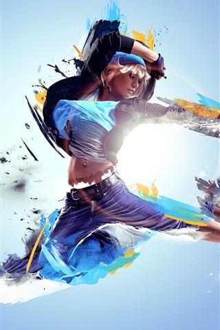 iPhone Wallpaper Dance girl, creative design