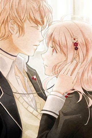 iPhone Wallpaper Diabolik Lovers, anime girl and boy
