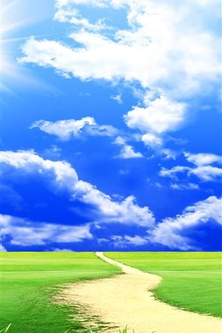 iPhone Wallpaper Dream world, grass, trees, clouds, blue sky, road, windmills